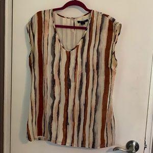 St. John Silk Watercolor Stripe Blouse
